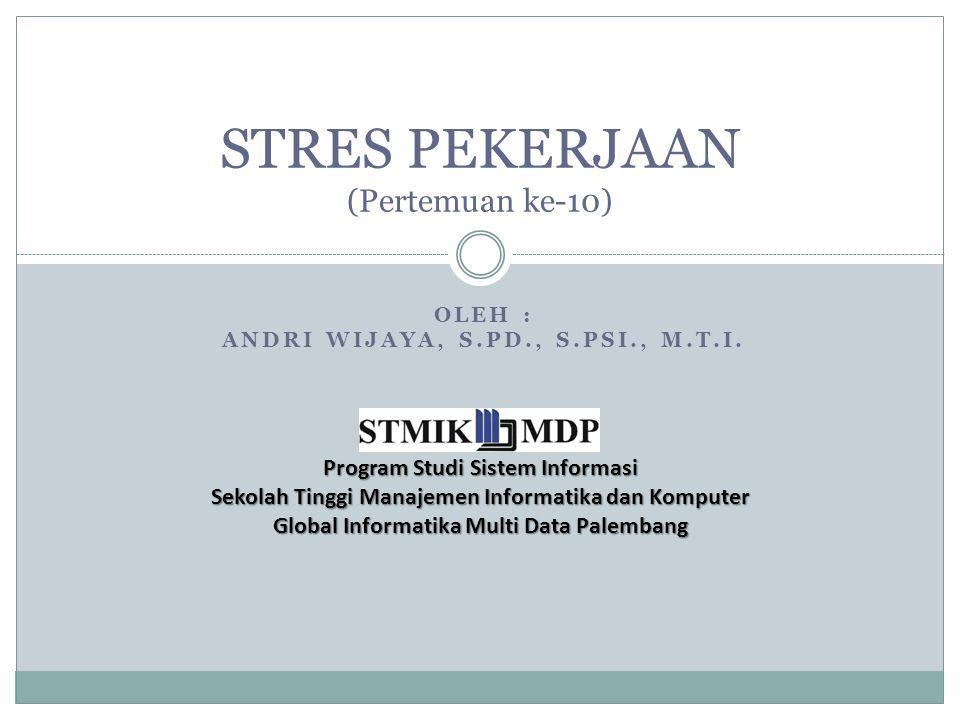 STRES PEKERJAAN (Pertemuan ke-10)