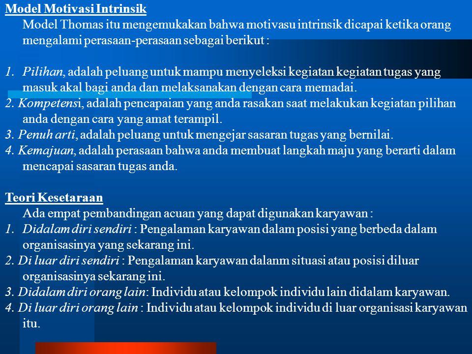 Model Motivasi Intrinsik