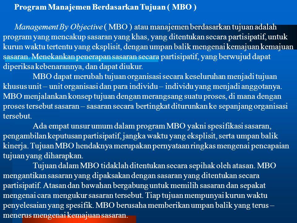 Program Manajemen Berdasarkan Tujuan ( MBO )