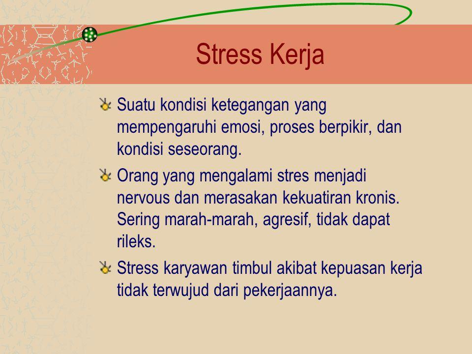 Stress Kerja Suatu kondisi ketegangan yang mempengaruhi emosi, proses berpikir, dan kondisi seseorang.