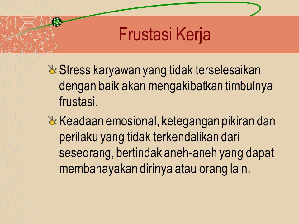Frustasi Kerja Stress karyawan yang tidak terselesaikan dengan baik akan mengakibatkan timbulnya frustasi.
