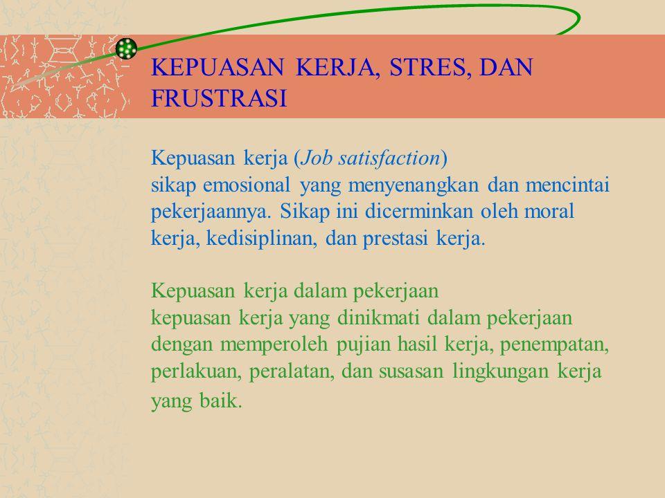 KEPUASAN KERJA, STRES, DAN FRUSTRASI Kepuasan kerja (Job satisfaction) sikap emosional yang menyenangkan dan mencintai pekerjaannya.