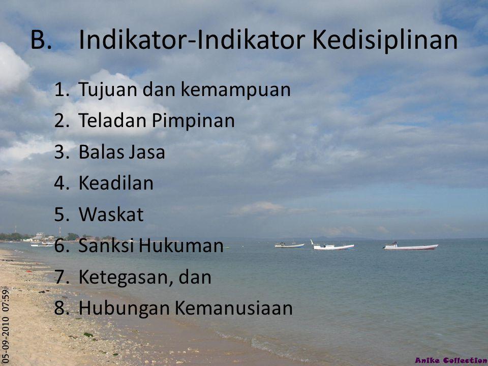 B. Indikator-Indikator Kedisiplinan