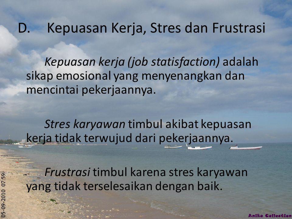 D. Kepuasan Kerja, Stres dan Frustrasi