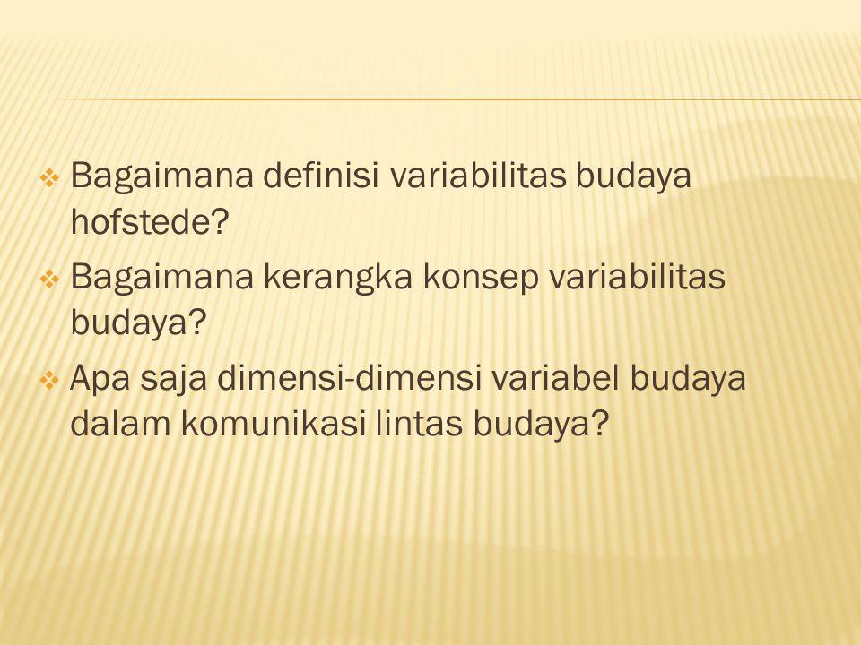 Bagaimana definisi variabilitas budaya hofstede