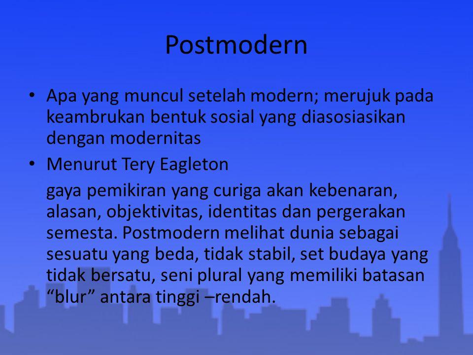 Postmodern Apa yang muncul setelah modern; merujuk pada keambrukan bentuk sosial yang diasosiasikan dengan modernitas.