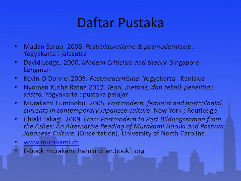 Daftar Pustaka Madan Sarup. 2008. Postrukturalisme & posmodernisme. Yogyakarta : jalasutra.