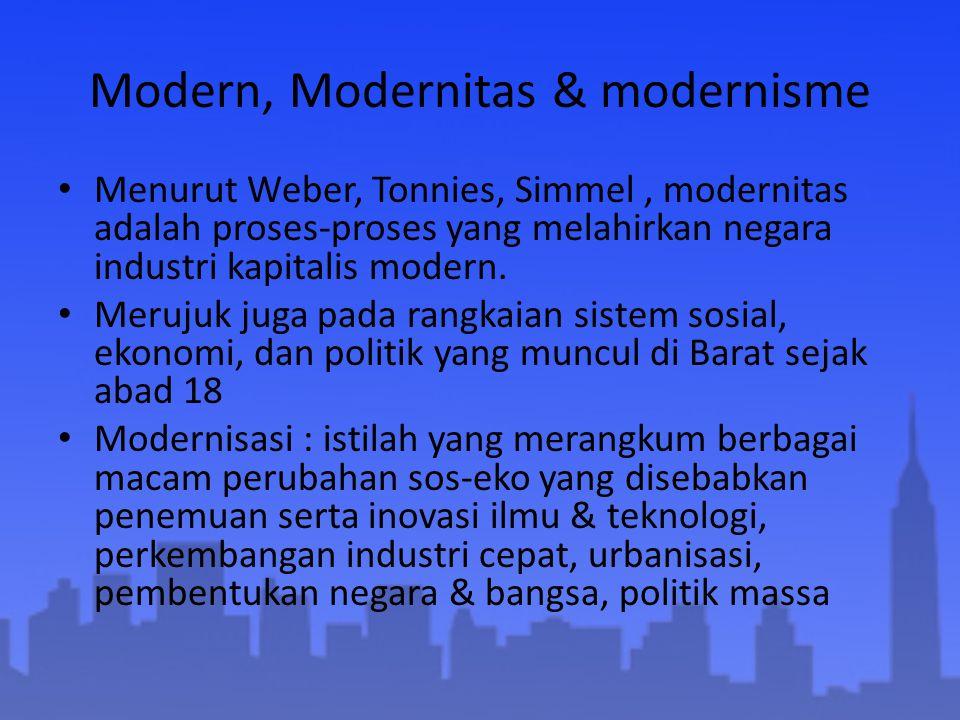 Modern, Modernitas & modernisme