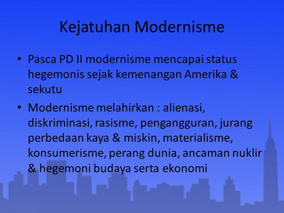 Kejatuhan Modernisme Pasca PD II modernisme mencapai status hegemonis sejak kemenangan Amerika & sekutu.