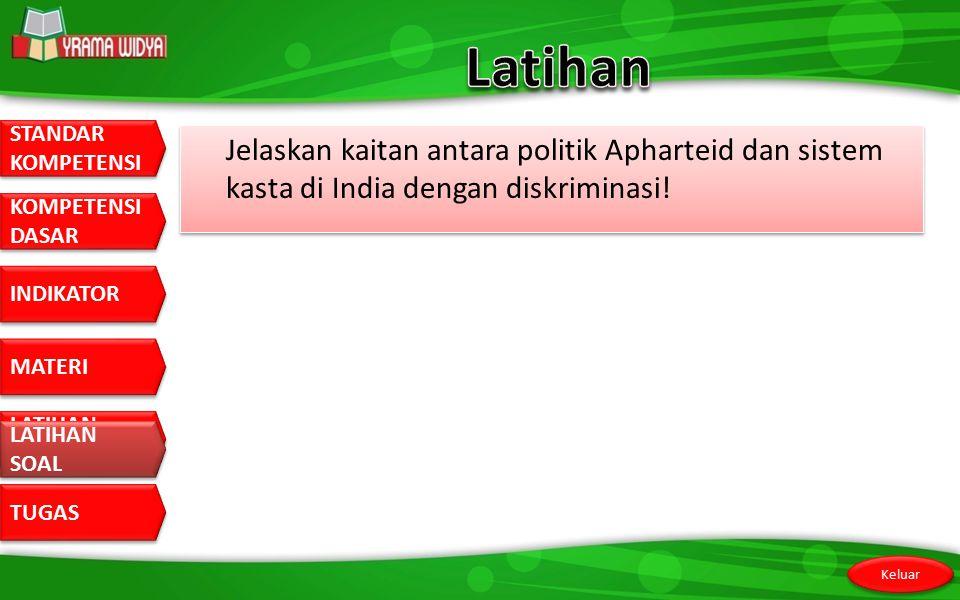 Latihan Jelaskan kaitan antara politik Apharteid dan sistem kasta di India dengan diskriminasi.