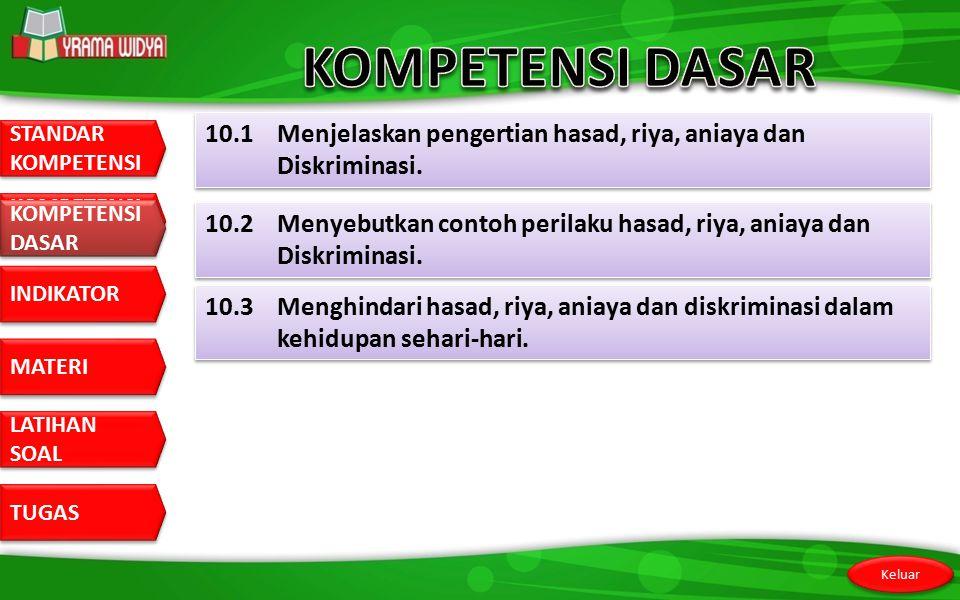 KOMPETENSI DASAR 10.1 Menjelaskan pengertian hasad, riya, aniaya dan Diskriminasi. KOMPETENSI DASAR.