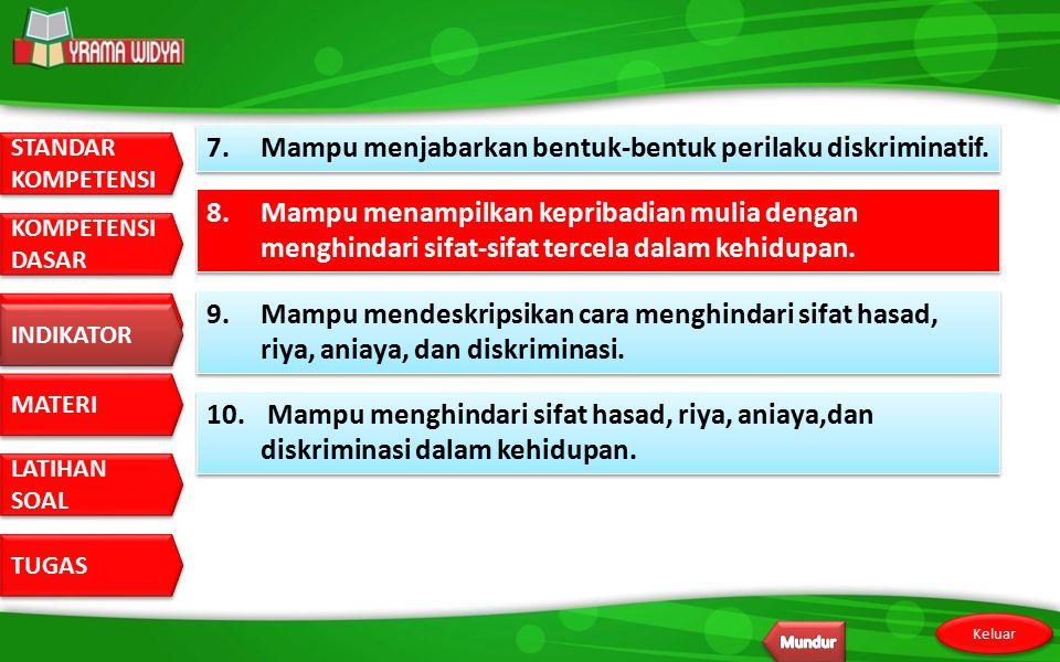 7. Mampu menjabarkan bentuk-bentuk perilaku diskriminatif.