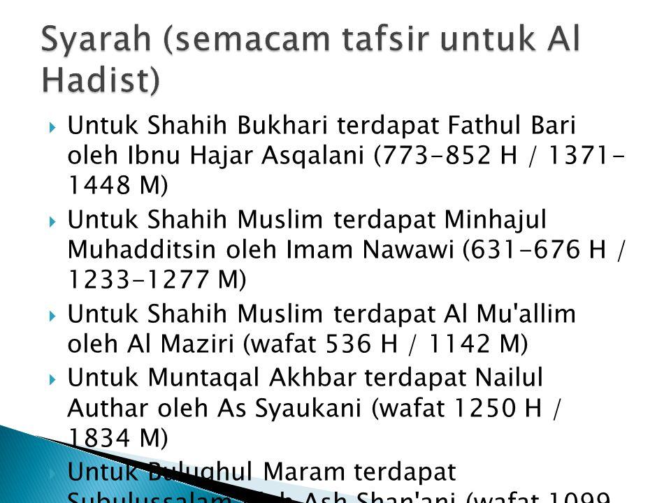 Syarah (semacam tafsir untuk Al Hadist)