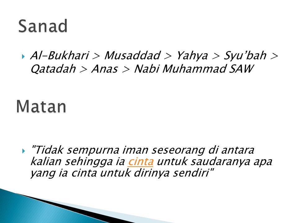 Sanad Al-Bukhari > Musaddad > Yahya > Syu'bah > Qatadah > Anas > Nabi Muhammad SAW. Matan.