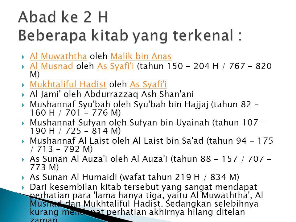 Abad ke 2 H Beberapa kitab yang terkenal :