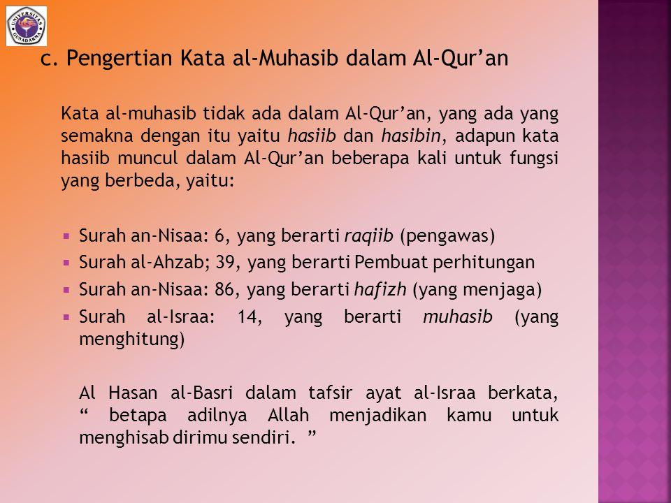 c. Pengertian Kata al-Muhasib dalam Al-Qur'an