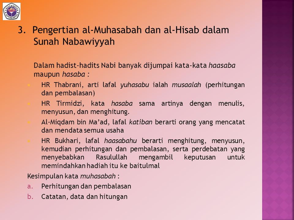 3. Pengertian al-Muhasabah dan al-Hisab dalam Sunah Nabawiyyah