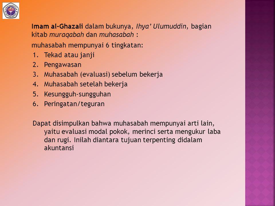 Imam al-Ghazali dalam bukunya, Ihya' Ulumuddin, bagian kitab muraqabah dan muhasabah :