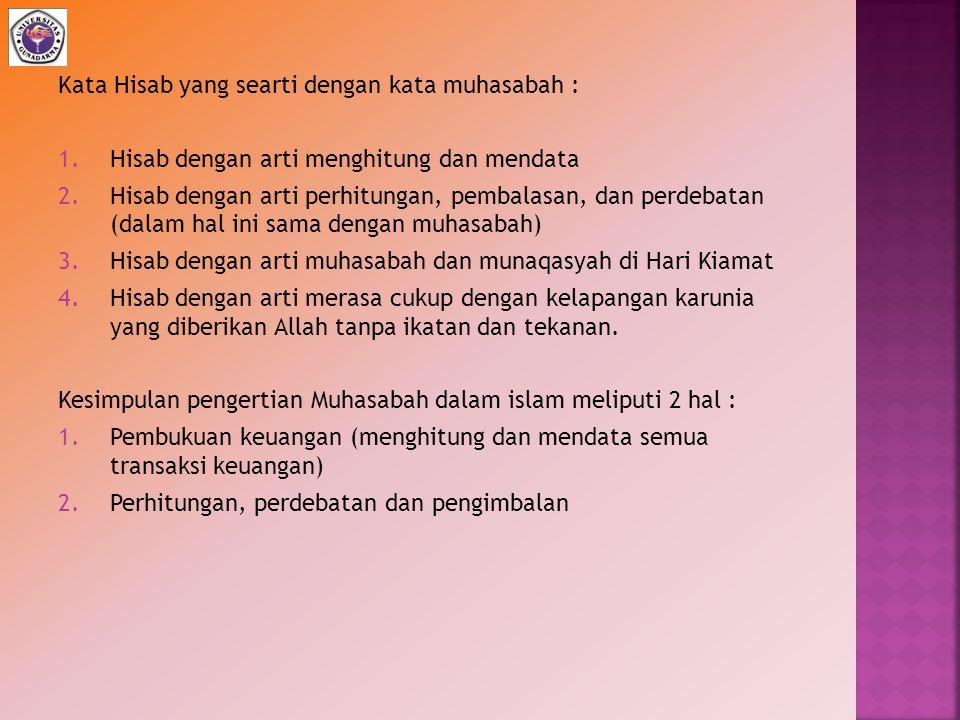 Kata Hisab yang searti dengan kata muhasabah :