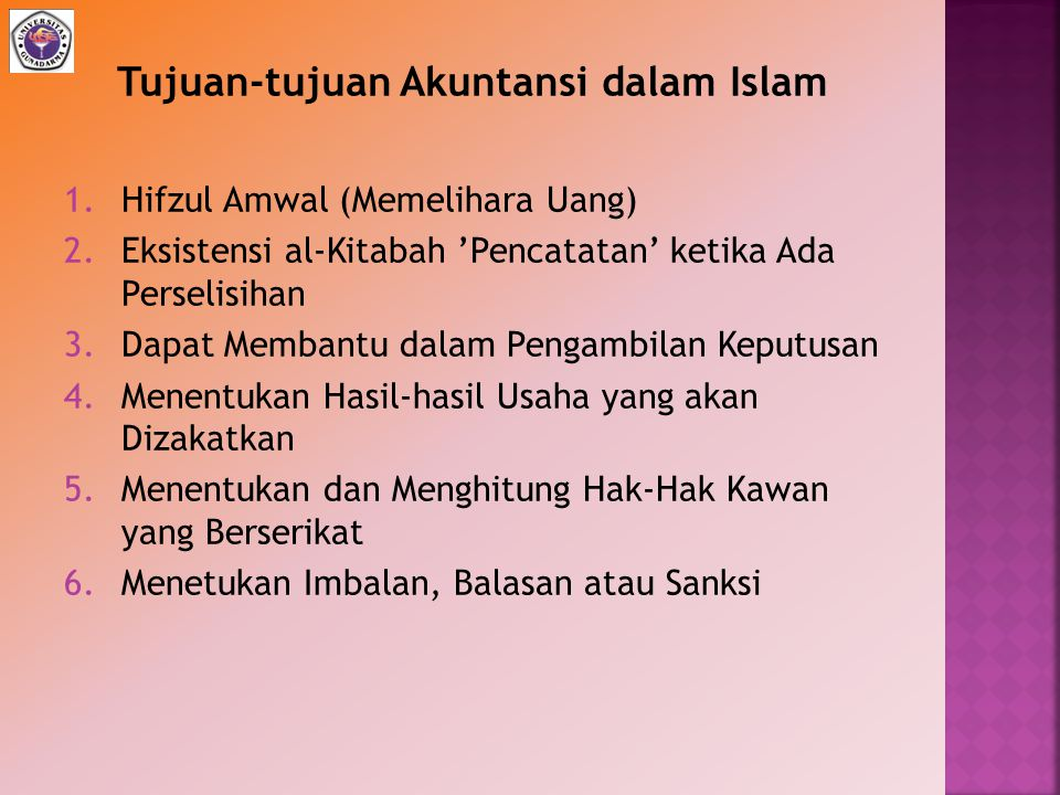 Tujuan-tujuan Akuntansi dalam Islam