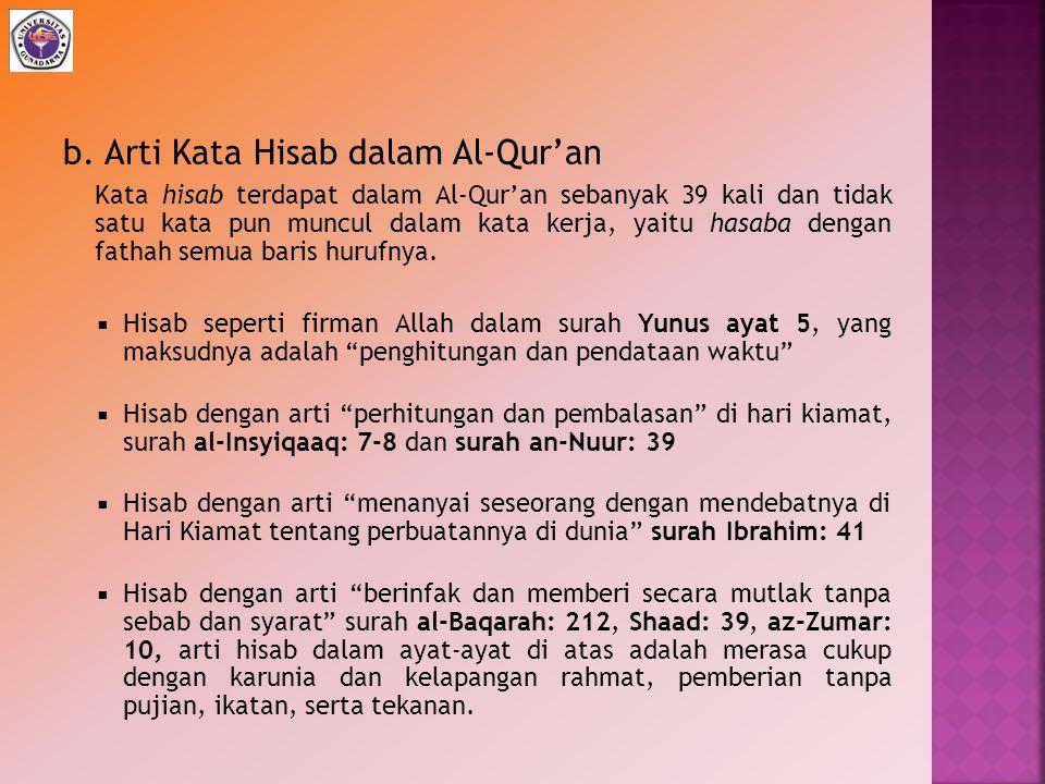 b. Arti Kata Hisab dalam Al-Qur'an