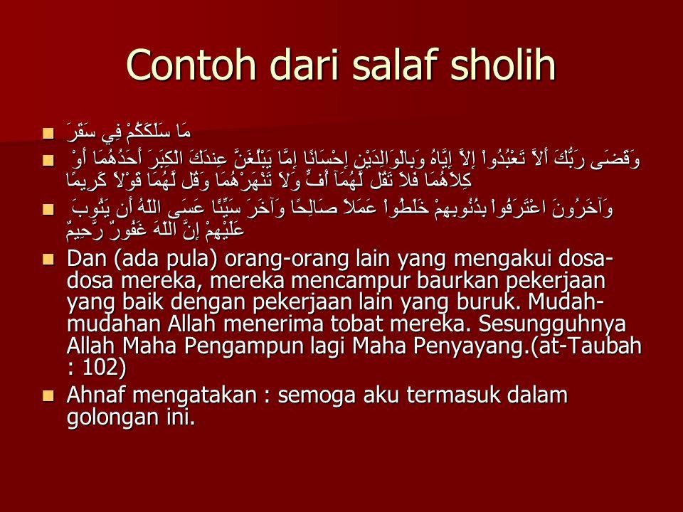 Contoh dari salaf sholih
