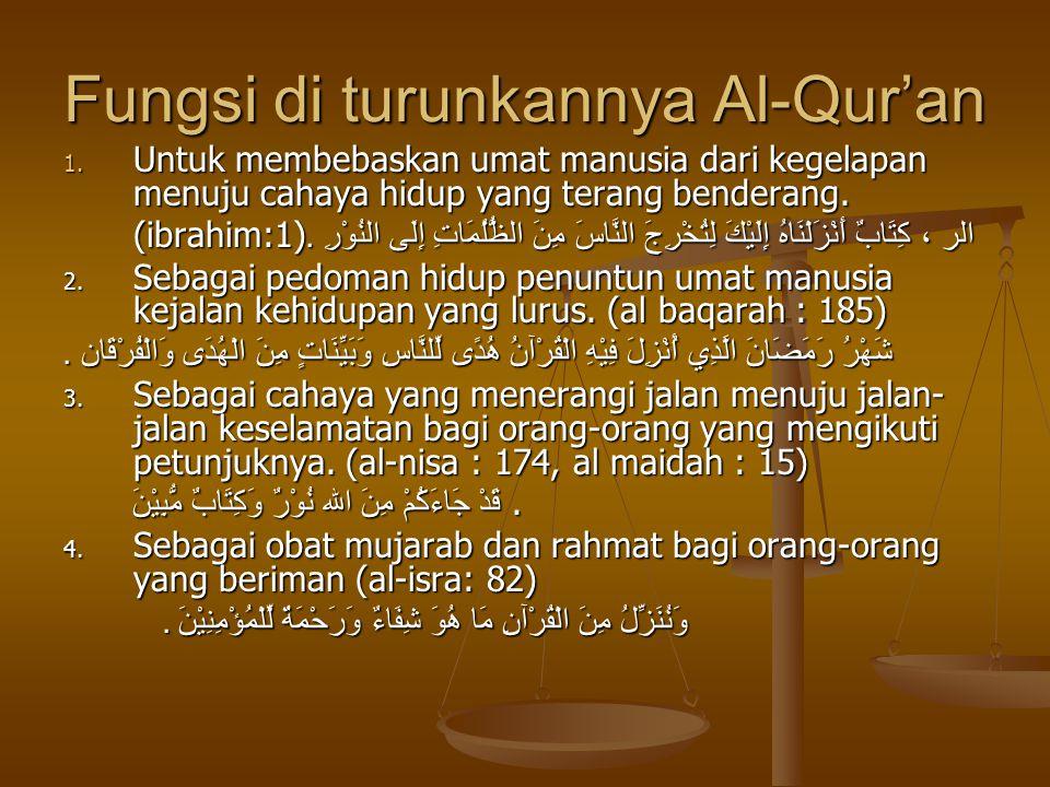 Fungsi di turunkannya Al-Qur'an