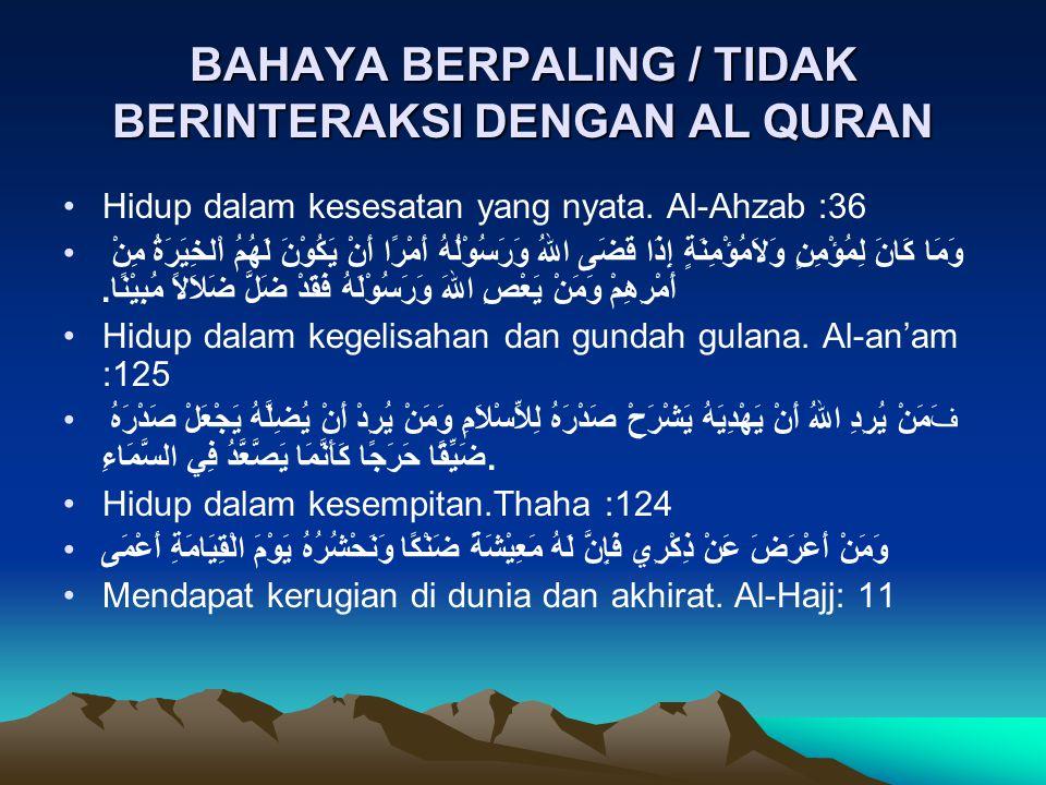 BAHAYA BERPALING / TIDAK BERINTERAKSI DENGAN AL QURAN