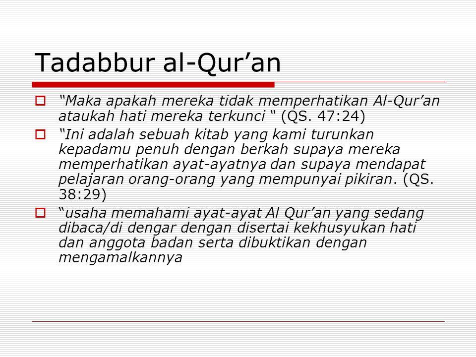 Tadabbur al-Qur'an Maka apakah mereka tidak memperhatikan Al-Qur'an ataukah hati mereka terkunci (QS. 47:24)