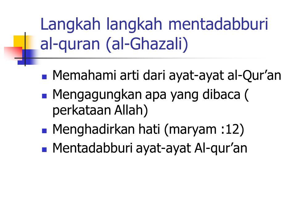 Langkah langkah mentadabburi al-quran (al-Ghazali)