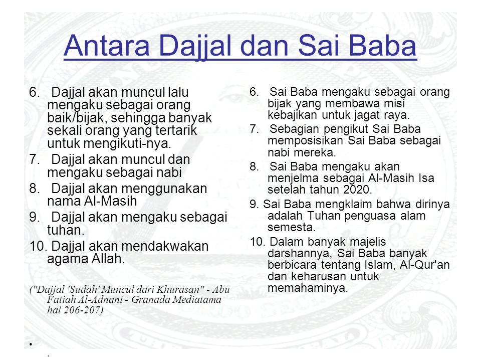 Antara Dajjal dan Sai Baba