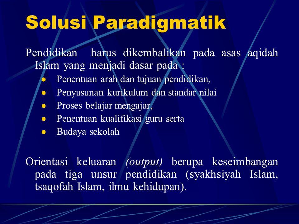 Solusi Paradigmatik Pendidikan harus dikembalikan pada asas aqidah Islam yang menjadi dasar pada :