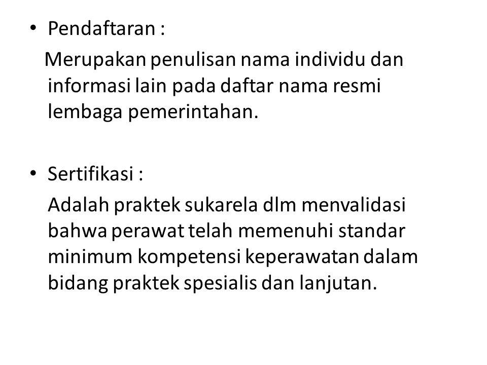 Pendaftaran : Merupakan penulisan nama individu dan informasi lain pada daftar nama resmi lembaga pemerintahan.