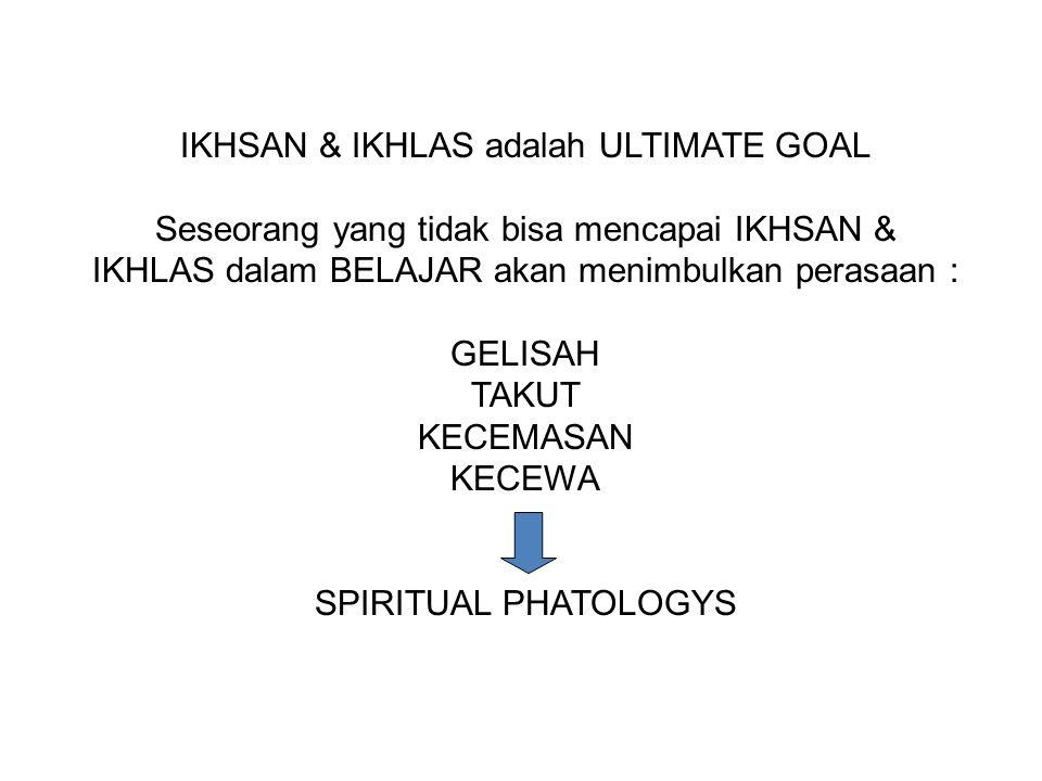 IKHSAN & IKHLAS adalah ULTIMATE GOAL