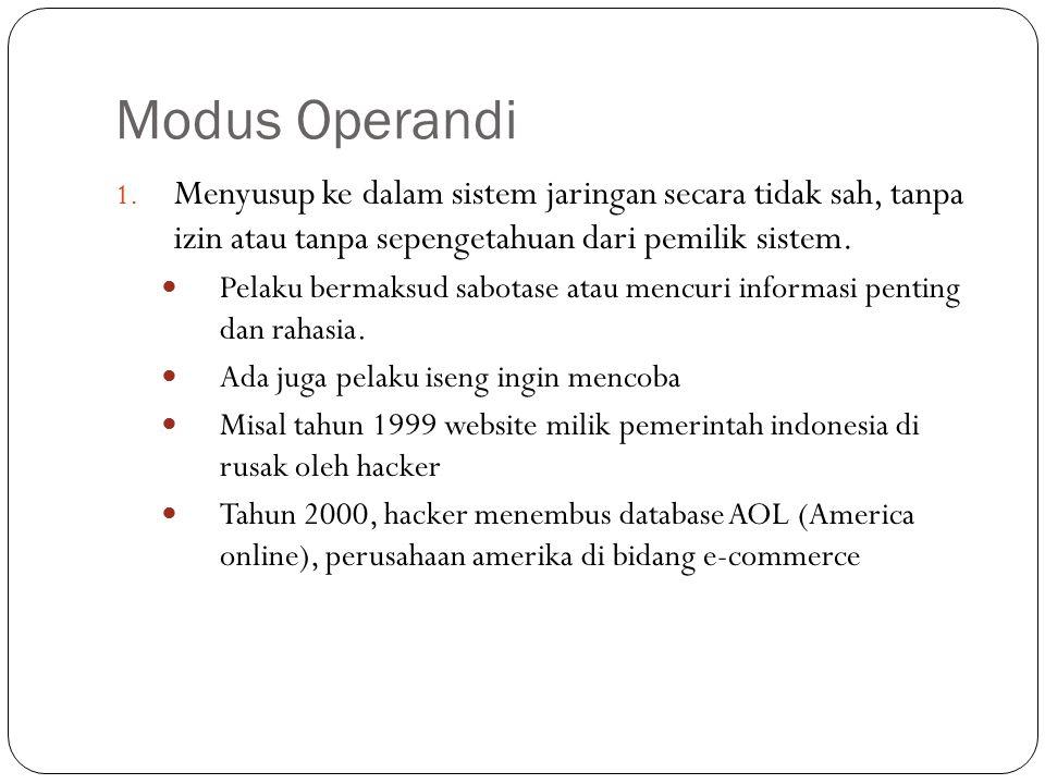 Modus Operandi Menyusup ke dalam sistem jaringan secara tidak sah, tanpa izin atau tanpa sepengetahuan dari pemilik sistem.