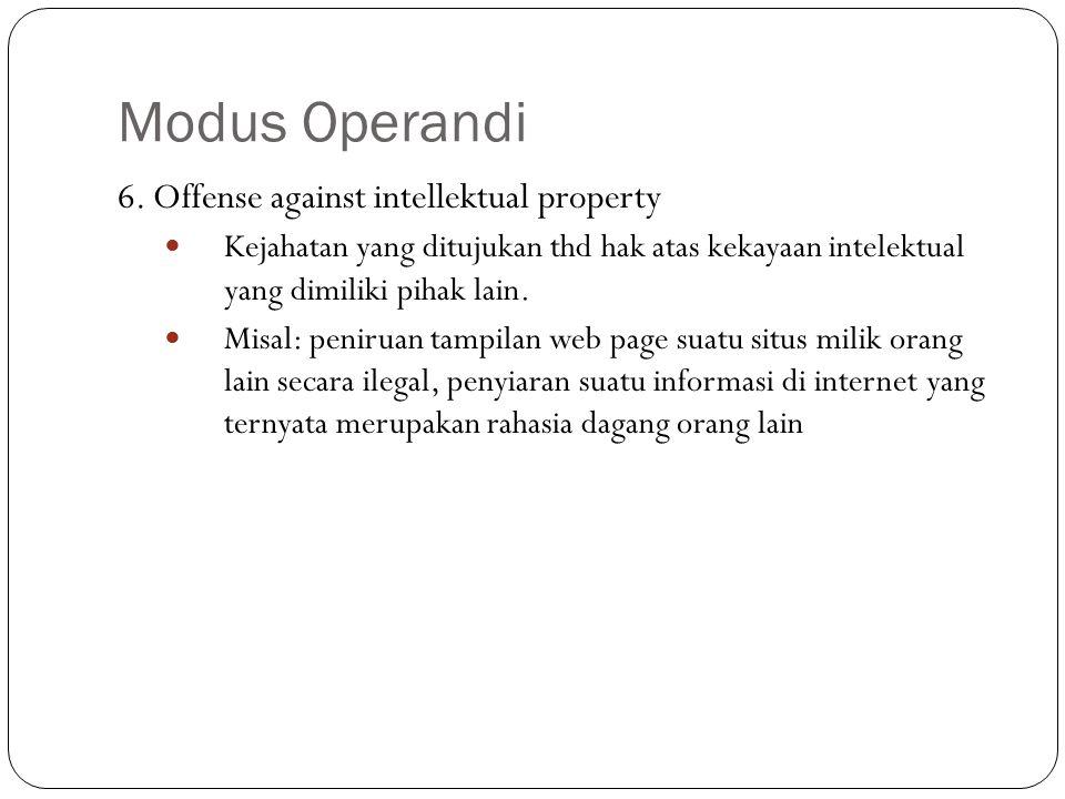 Modus Operandi 6. Offense against intellektual property