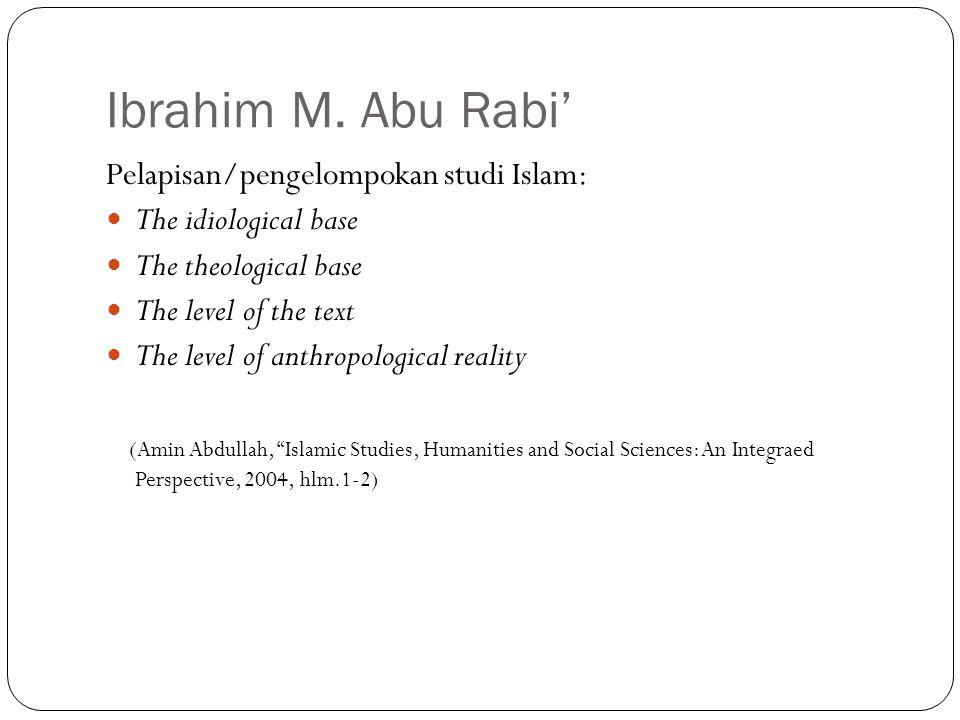 Ibrahim M. Abu Rabi' Pelapisan/pengelompokan studi Islam: