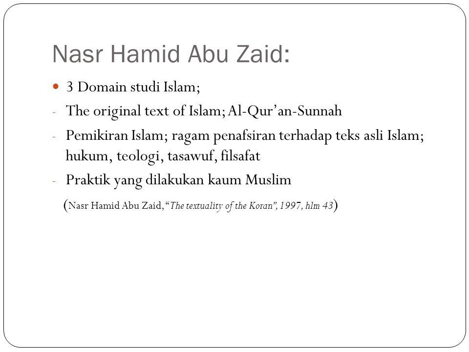 Nasr Hamid Abu Zaid: 3 Domain studi Islam;