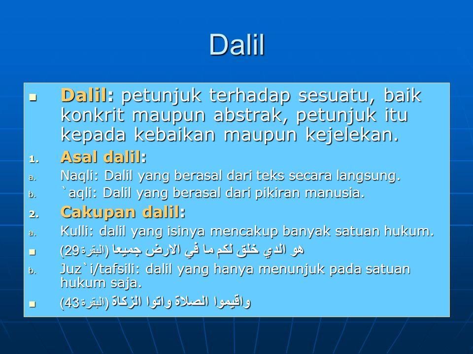 Dalil Dalil: petunjuk terhadap sesuatu, baik konkrit maupun abstrak, petunjuk itu kepada kebaikan maupun kejelekan.