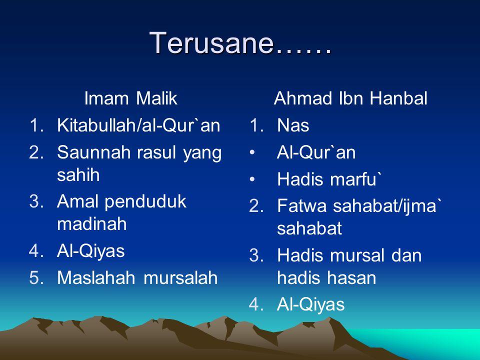 Terusane…… Imam Malik Kitabullah/al-Qur`an Saunnah rasul yang sahih