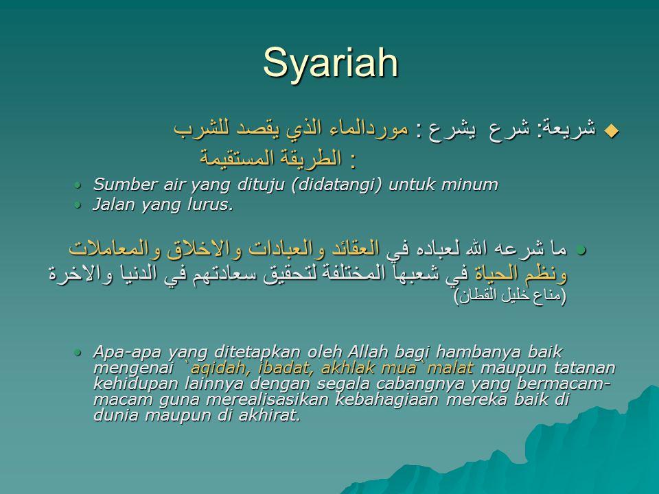 Syariah شريعة: شرع يشرع : موردالماء الذي يقصد للشرب