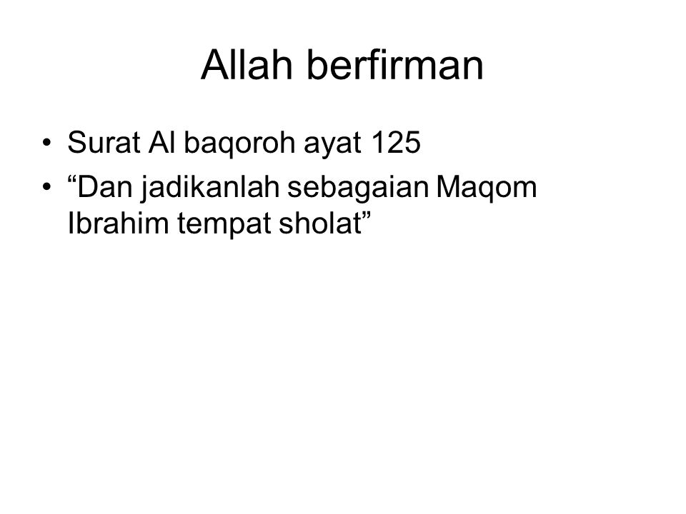 Allah berfirman Surat Al baqoroh ayat 125