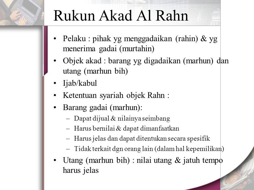 Rukun Akad Al Rahn Pelaku : pihak yg menggadaikan (rahin) & yg menerima gadai (murtahin)