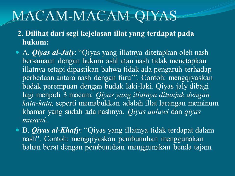 MACAM-MACAM QIYAS 2. Dilihat dari segi kejelasan illat yang terdapat pada hukum: