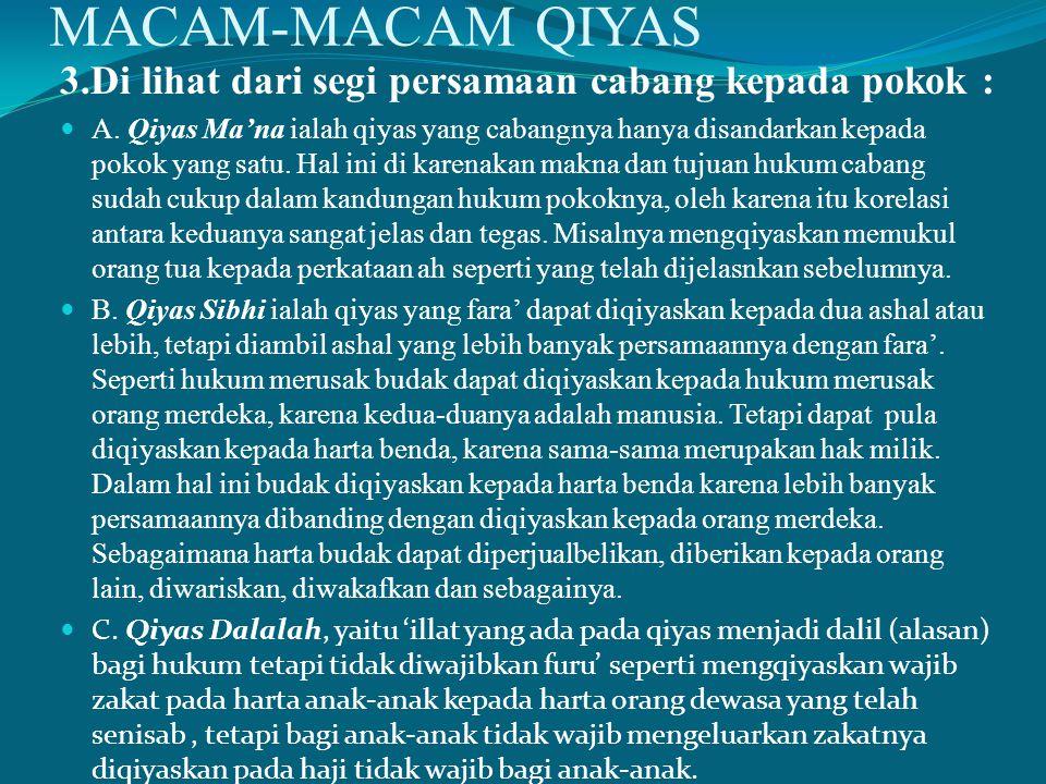 MACAM-MACAM QIYAS 3.Di lihat dari segi persamaan cabang kepada pokok :