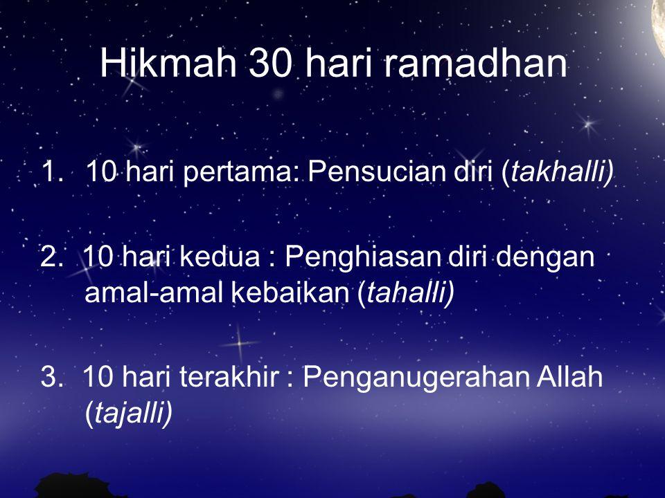 Hikmah 30 hari ramadhan 10 hari pertama: Pensucian diri (takhalli)