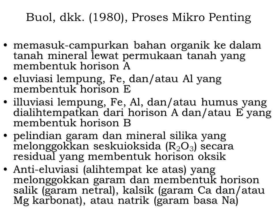 Buol, dkk. (1980), Proses Mikro Penting