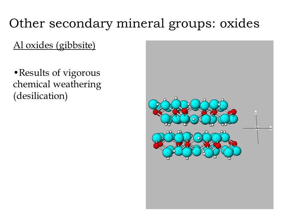 Other secondary mineral groups: oxides