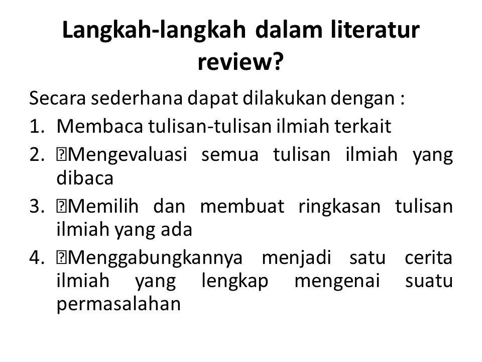 Langkah-langkah dalam literatur review