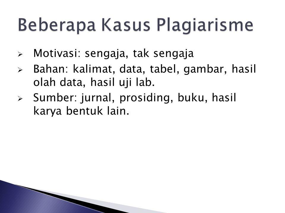 Beberapa Kasus Plagiarisme